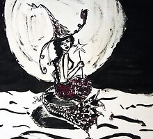 Witchy Mermaid in the Moonlight Ink Art by ARTificiaLondon