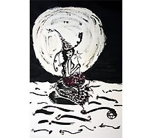 Witchy Mermaid in the Moonlight Ink Art Photographic Print