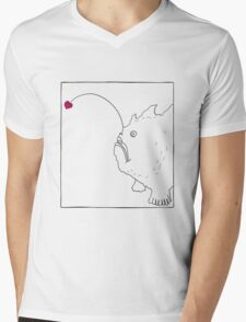 Fishing for love: a hopeful frogfish Mens V-Neck T-Shirt