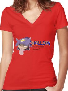 A wild Shelldon appears! Women's Fitted V-Neck T-Shirt