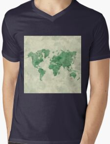 World Map Green Mens V-Neck T-Shirt
