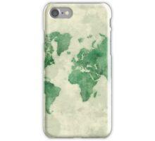 World Map Green iPhone Case/Skin