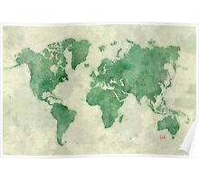 World Map Green Poster
