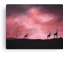 Three giraffes silhouette Canvas Print