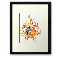 Fire Watercolor yin yang  Framed Print