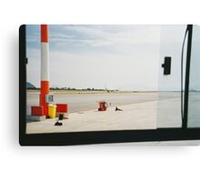 Airplane Trough Open Airport Bus Window Shot on Porta 400 Film Canvas Print
