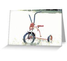 Vintage Red Tricycle   Old Bicycles   Childhood Memories Greeting Card
