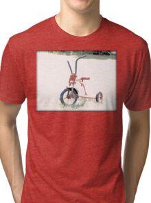 Vintage Red Tricycle | Old Bicycles | Childhood Memories Tri-blend T-Shirt