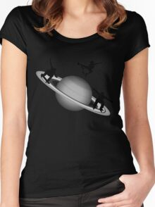 Skateboarding Saturn Women's Fitted Scoop T-Shirt