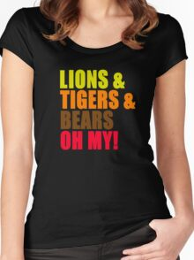 Lions And Tigers And Bears Oh My! The Wizard Of Oz Women's Fitted Scoop T-Shirt