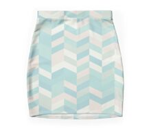 modern,chevron,zig zag,pins,pattern,trendy,pastel colors,teal,pink,cream,mint,green Mini Skirt