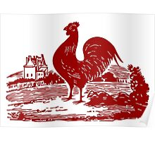 Red Rooster in Farmyard Poster
