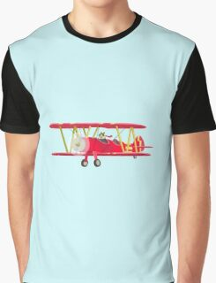 Big City Vehicles - Squirrel Pilot Flying Airplane Graphic T-Shirt