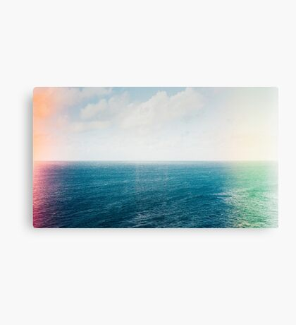 Blue Ocean and Sky Shot on Film With Light Leaks Canvas Print
