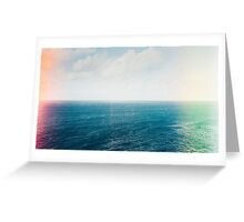 Blue Ocean and Sky Shot on Film With Light Leaks Greeting Card