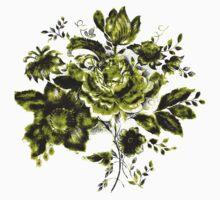Green Flowers One Piece - Short Sleeve