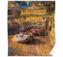Car racing vintage cars Poster