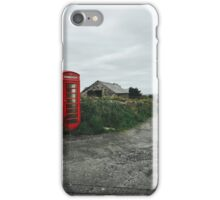 Old-Fashioned Red Phone Booth in British Countryside iPhone Case/Skin