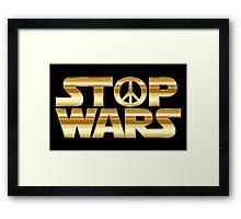 STOP WARS gold Framed Print