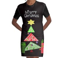 Whimsical Christmas Graphic T-Shirt Dress