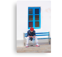 .....a tourist in Mykonos Greece.... Canvas Print