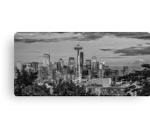 Seattle Skyline in B&W Canvas Print