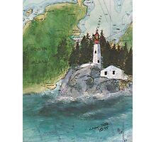 Pt Atkinson Lighthouse BC Canada Nautical Map Cathy Peek Photographic Print
