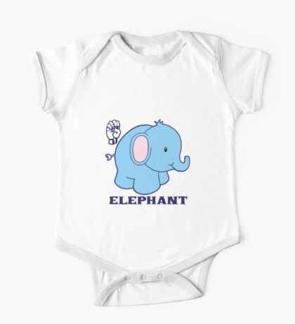 E is for Elephant - ASL One Piece - Short Sleeve