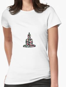 Meditating Buddha Flowers Womens Fitted T-Shirt