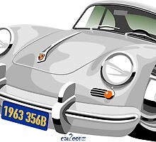 Porsche 356B coupe caricature by car2oonz
