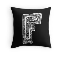 Black and White Letter F Throw Pillow