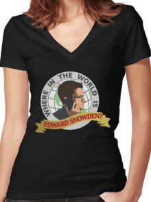 Where in the World is Edward Snowden? Women's Fitted V-Neck T-Shirt