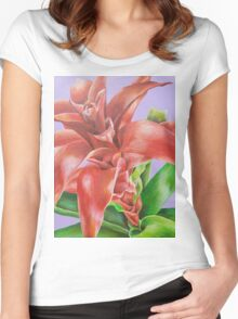 Bromeliad Flower Acrylic Painting Women's Fitted Scoop T-Shirt