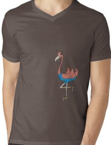Skating Flamingo Mens V-Neck T-Shirt