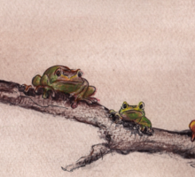 Spring Peepers - Original watercolor painting of tiny little forest frogs pinkletinks tinkletoes Sticker