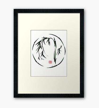 VISIONARY Original sumi-e enso ink brush wash painting Framed Print