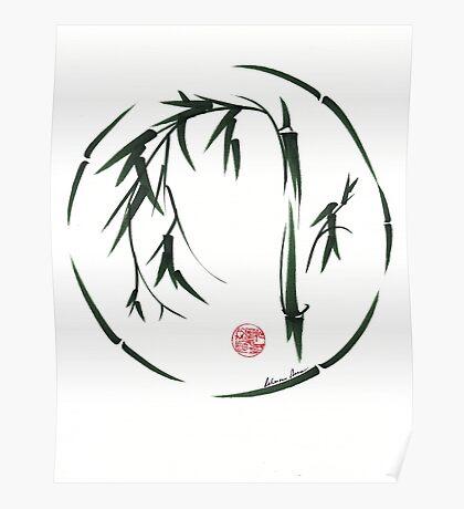 VISIONARY Original sumi-e enso ink brush wash painting Poster