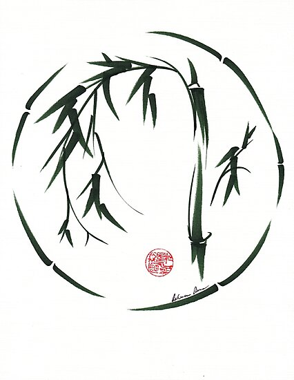VISIONARY Original sumi-e enso ink brush wash painting by Rebecca Rees
