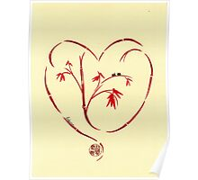 I Love You Too - Bamboo Heart & Ladybug Love Painting Poster