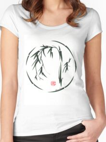 VISIONARY Original sumi-e enso ink brush wash painting Women's Fitted Scoop T-Shirt