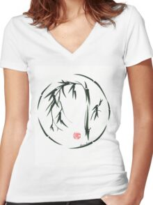 VISIONARY Original sumi-e enso ink brush wash painting Women's Fitted V-Neck T-Shirt