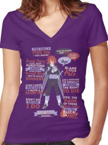 Kratos Aurion Quotes Women's Fitted V-Neck T-Shirt