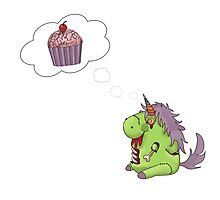 Zombie Unicorn Dreaming of Sweet Brain Food Photographic Print