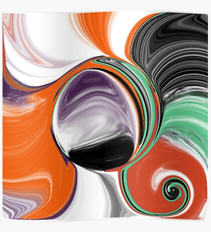 Abstract Orb in Orange, Purple, Green, and Black Poster