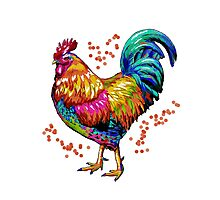 Color Splash Rooster Photographic Print
