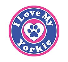 I LOVE MY YORKIE YORKSHIRE TERRIER DOG HEART I LOVE MY DOG PET PETS PUPPY STICKER STICKERS DECAL DECALS Photographic Print