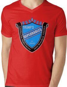 Trump's Deplorables Family Crest Blue Gray And Latin Mens V-Neck T-Shirt