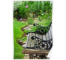 Scroll Garden Bench Scene - Digital Oil Poster