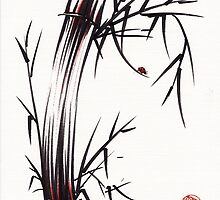 Adventurous Spirit - Sumi Sumie Ink Brush Painting by Rebecca Rees