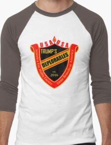 Trump's Deplorables Family Crest Red Gold And Latin Men's Baseball ¾ T-Shirt